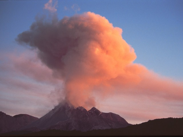 Ash and Gas Eruption (Sunset) – Soufriere Hills Volcano