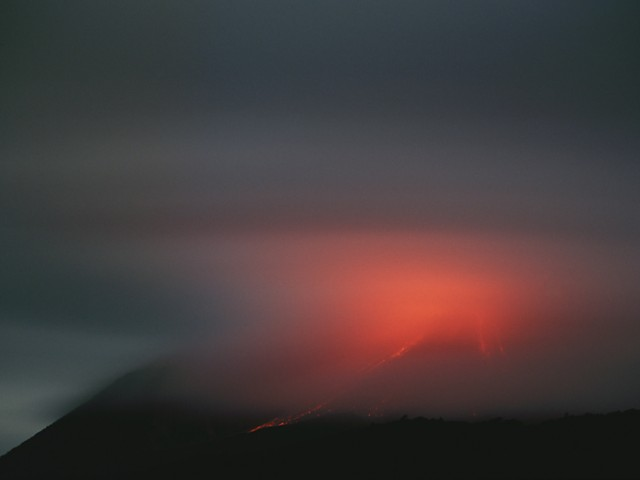 Clouds Illuminated by Lava – Soufriere Hills Volcano