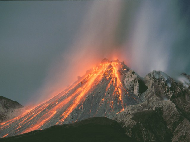 Soufriere Hills Volcano and Lava by Moonlight