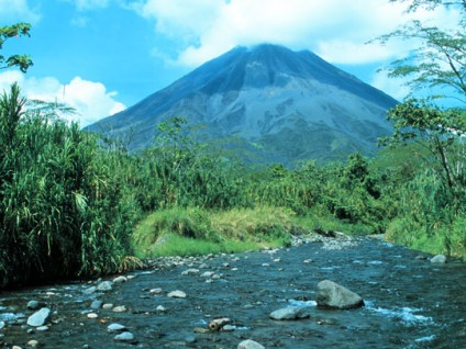 Arenal Volcano from the Rio Agua Caliente